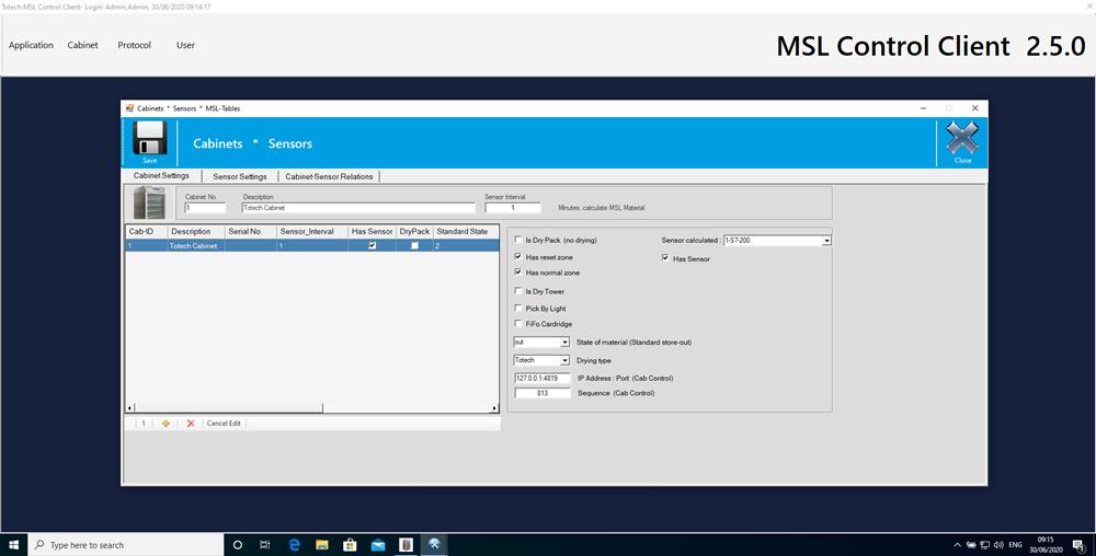 Software MSL 2.5 Schranküberwachung