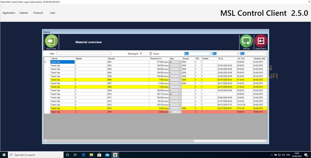 Software MSL 2.5 - Bauteilüberwachung